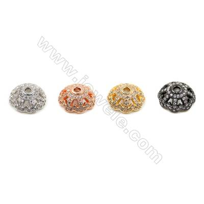 Brass Bead Caps  (Gold Platinum Rose Gold Gun Black)Plated  CZ Micropave  Size 12x12mm  Hole 2mm  12pcs/pack