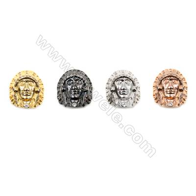 Brass Little Charms (Gold Platinum Rose Gold Gun Black)Plated CZ Micropave American Indian Size 12x14mm Hole 2mm  15pcs/pack