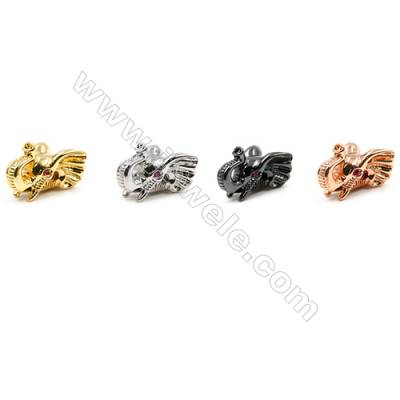 Brass Little Charms  (Gold Platinum Rose Gold Gun Black) Plated  CZ Micropave  Elephant  Size 11x15mm  Hole 1.6mm  20pcs/pack