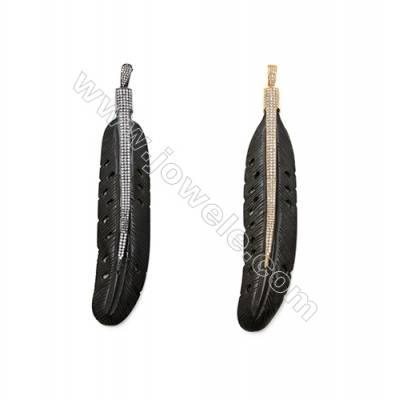 Ox Bone Pendants  with Brass Micro Pave Cubic Zirconia  (Gold  Gun black)Plated  Leaf  Black  Size 27x133mm  x1pc
