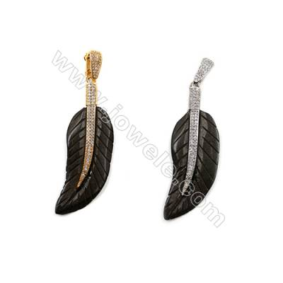 Ox Bone Pendants  with Brass Micro Pave Cubic Zirconia  (Gold  Platinum)Plated  Leaf  Black  Size 21x60mm  x1pc