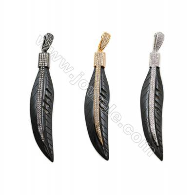 Ox Bone Pendants  with Brass Micro Pave Cubic Zirconia  (Gold  Platinum  Gun black)Plated  Leaf  Black  Size 16x77mm  x1pc