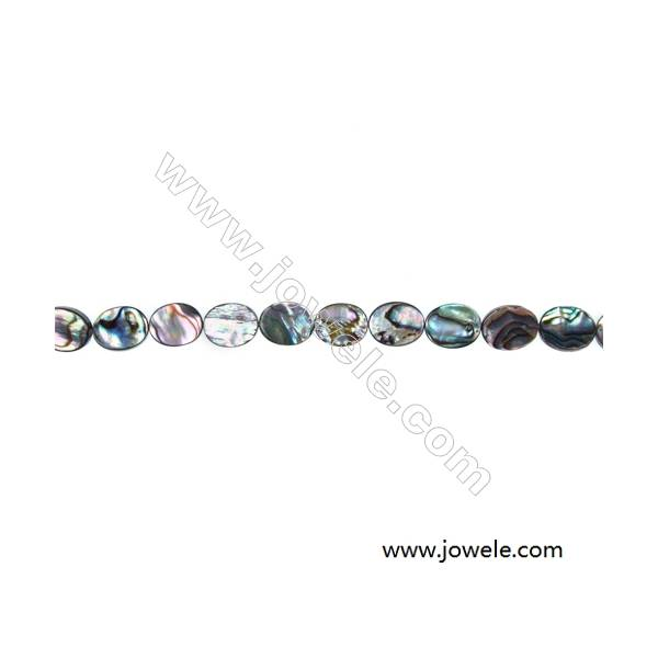 Colorful Abalone/Paua Shell Beads Strands, Oval, Size 8x10 mm, Hole 0.8 mm, About 40 beads/strand, 15 ~ 16 ""