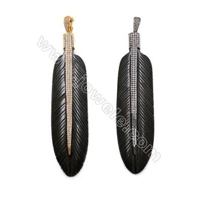 Ox Bone Pendants  with Brass Micro Pave Cubic Zirconia  (Gold  Gun black)Plated  Leaf  Black  Size 30x117mm  x1pc