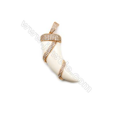 Ox Bone Pendants  with Gold Plated Brass Micro Pave Cubic Zirconia  Ox-horn  White  Size 21x54mm  x1pc