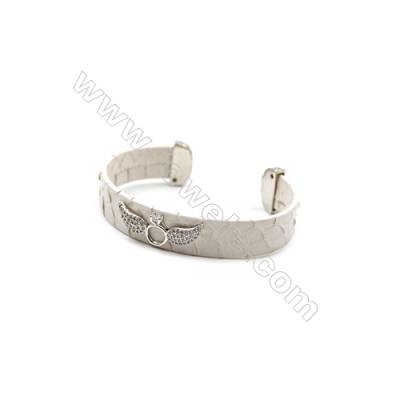 Snakeskin Bracelet (Adjustable), with Platinum Plated Brass Micro Pave Cubic Zirconia, Wing, Size 14mm, Inside Diameter 55mm