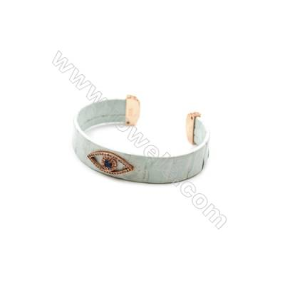 Snakeskin Bracelet (Adjustable)  with Rose Gold Plated Brass Pave Cubic Zirconia  Eyes  Size 14mm Inside Diameter 57mm x1pc