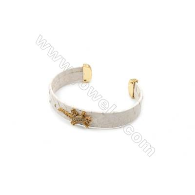 Snakeskin Bracelet (Adjustable), with Gold Plated Brass Micro Pave Cubic Zirconia, Lizard, Size 14mm, Inside Diameter 60mm
