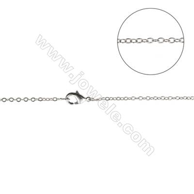 "Brass Chain Necklace Makings  White Gold  Cross  Width 1.6mm  Thick 0.28mm  16""/18"" x1strand"