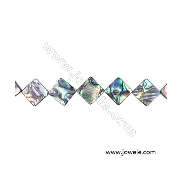 """Abalone Shell Bead Strands, Rhombus, Size 19x19mm, Hole 1.0 mm, About 22 beads/strand, 15 ~ 16 """""""