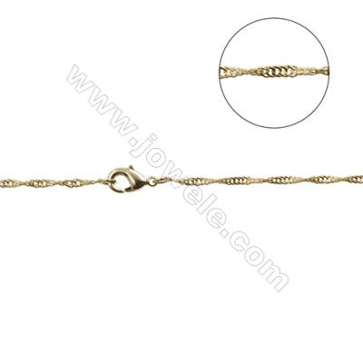 "Brass Hammer Round Chain Necklace Makings  Gold  Width 1.6mm  Thick 0.3mm  16""/18""x1strand"