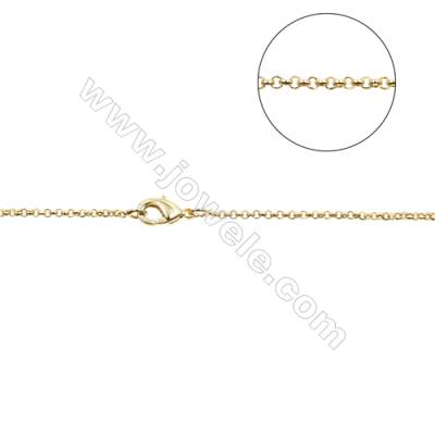 "Brass Cross Chain Necklace Makings  Gold  Width 1.55mm  Thick 0.6mm  16""/18""x1strand"