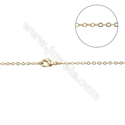"Brass Cross Chain Necklace Makings  Gold  Width 1.6mm  Thick 0.3mm  16""/18""x1strand"