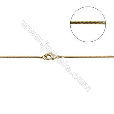 "Brass Round Snake Chain Necklace Making  Gold  Diameter 1.2mm  16""/18""x1strand"