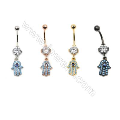 Brass Belly Ring  (Gold Platinum Rose Gold Gun Black) Plated  Hand  CZ Micropave  Size 36x9mm  10pcs/pack