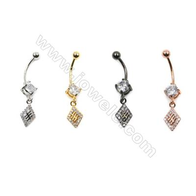 Brass Belly Ring  (Gold Platinum Rose Gold Gun Black) Plated  Rhombus  CZ Micropave  Size 36x8mm  15pcs/pack