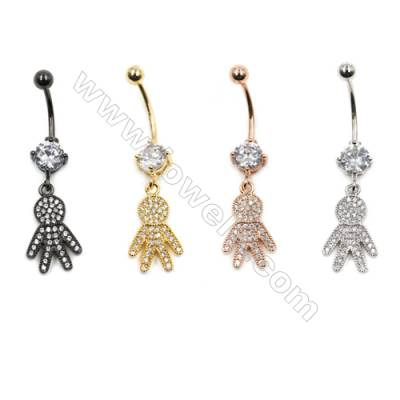 Brass Belly Ring  (Gold Platinum Rose Gold Gun Black) Plated  Human shape  CZ Micropave  Size 42x11mm  12pcs/pack