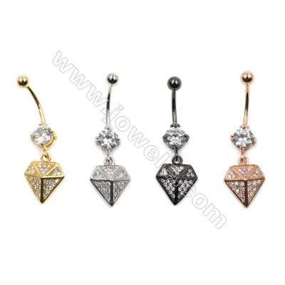 Brass Belly Ring  (Gold Platinum Rose Gold Gun Black) Plated  Diamond  CZ Micropave  Size 38x12mm  15pcs/pack