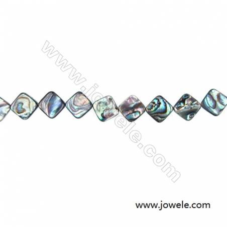 """Abalone Shell Bead Strands, Rhombus, Size 15x15mm, Hole 1.0 mm, About 28 beads/strand, 15 ~ 16 """""""
