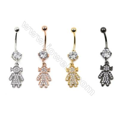 Brass Belly Ring  (Gold Platinum Rose Gold Gun Black) Plated  Lassock  CZ Micropave  Size 41x11mm  16pcs/pack