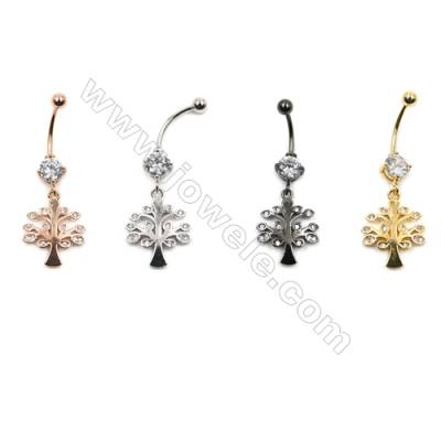 Brass Belly Ring  (Gold Platinum Rose Gold Gun Black) Plated  Life Tree  CZ Micropave  Size 41x15mm  16pcs/pack