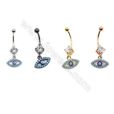 Brass Belly Ring  (Gold Platinum Rose Gold Gun Black) Plated  Eyes  CZ Micropave  Size 33x14mm  12pcs/pack