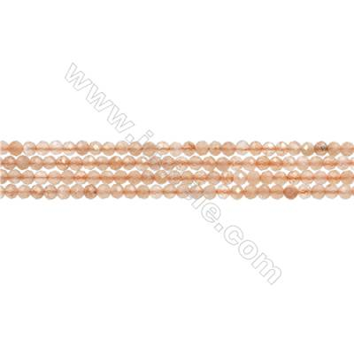 "Natural Orange Moonstone Bead Strands  Round(Faceted)  Diameter 2mm  Hole 0.3mm  15~16""/strand"