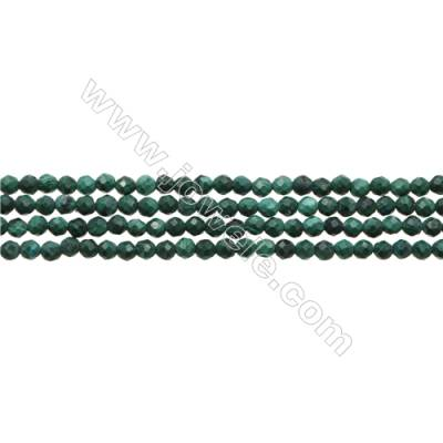 "Natural Malachite Bead Strands  Round(Faceted)  Diameter 2mm  Hole 0.3mm  15~16""/strand"