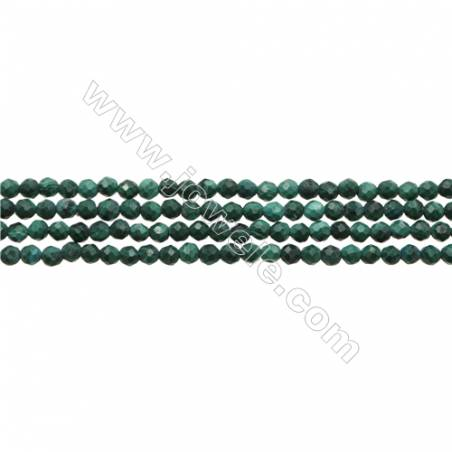 """Natural Malachite Bead Strands  Round(Faceted)  Diameter 2mm  Hole 0.3mm  15~16""""/strand"""