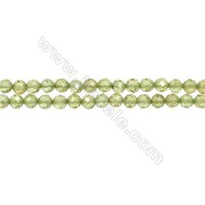 "Natural Peridot Bead Strands  Round(Faceted)  Diameter 4mm  Hole 0.3mm  15~16""/strand"