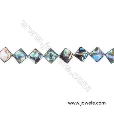 Abalone Shell Bead Strands, Rhombus, Size 13x13 mm, Hole 1.0 mm, About 32 beads/strand, 15 ~ 16 ""