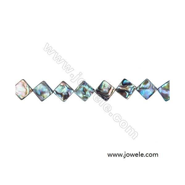 """Abalone Shell Bead Strands, Rhombus, Size 13x13 mm, Hole 1.0 mm, About 32 beads/strand, 15 ~ 16 """""""
