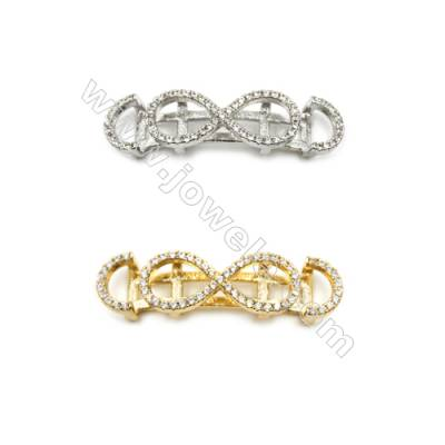 Brass Connectors, Micro Pave Cubic Zirconia, Figure 8, Size of rectangle, 9x31mm, Hole 5.8x4mm, 12pcs/pack