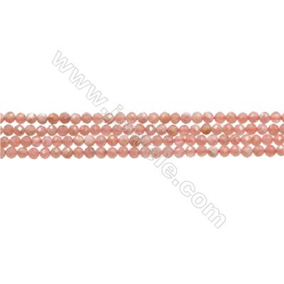 "Natural Argentina Rhodochrosite Bead Strands  Round(Faceted)  Diameter 3mm  Hole 0.4mm  15~16""/strand"