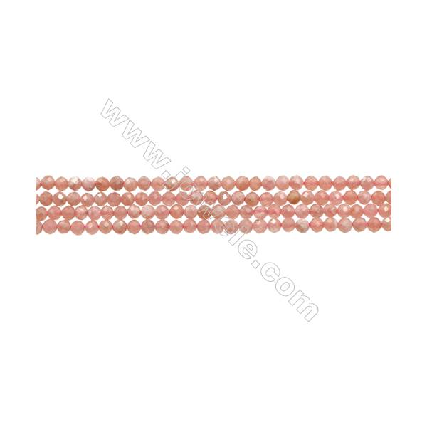 """Natural Argentina Rhodochrosite Bead Strands  Round(Faceted)  Diameter 3mm  Hole 0.4mm  15~16""""/strand"""