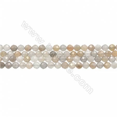 "Natural Moonstone Bead Strands  Round(Faceted)  Diameter 4mm  Hole 0.45mm  15~16""/strand"