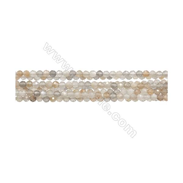 "Natural Moonstone Bead Strands  Round(Faceted)  Diameter 3mm  Hole 0.3mm  15~16""/strand"