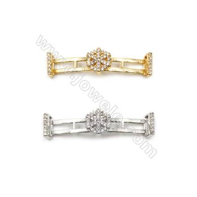 Brass Connectors  with the Snowflake and inlay zircon (Gold Platinum) Plated  Size of rectangle 9x35mm  Hole 5.8x4mm  12pcs/pack