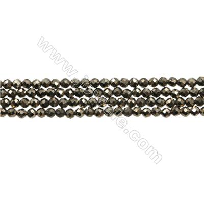 "Natural Pyrite Bead Strands  Round(Faceted)  Diameter 3mm  Hole 0.45mm  15~16""/strand"