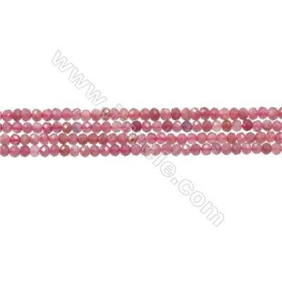 "Natural Red Tourmaline Beads Strands  Round(Faceted)  Diameter 2mm  Hole 0.3mm  15~16""/strand"