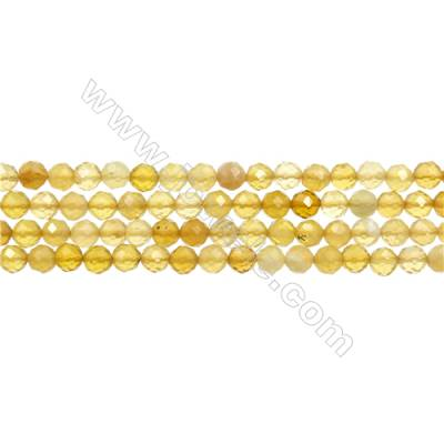 "Yellow Opal Bead Strands  Round(Faceted)  Diameter 4mm  Hole 0.6mm  15~16""/strand"