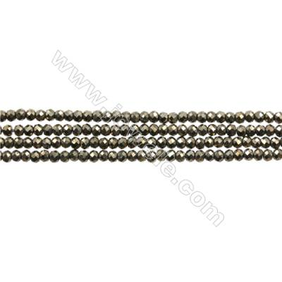 "Natural Pyrite Bead Strands  Round(Faceted)  Diameter 2mm  Hole 0.3mm  15~16""/strand"