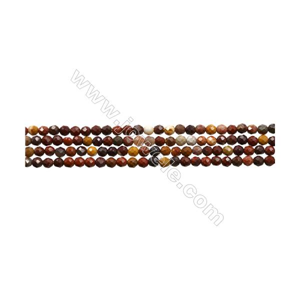 "Natural Mookaite Bead Strands  Round(Faceted)  Diameter 2mm  Hole 0.3mm  15~16""/strand"