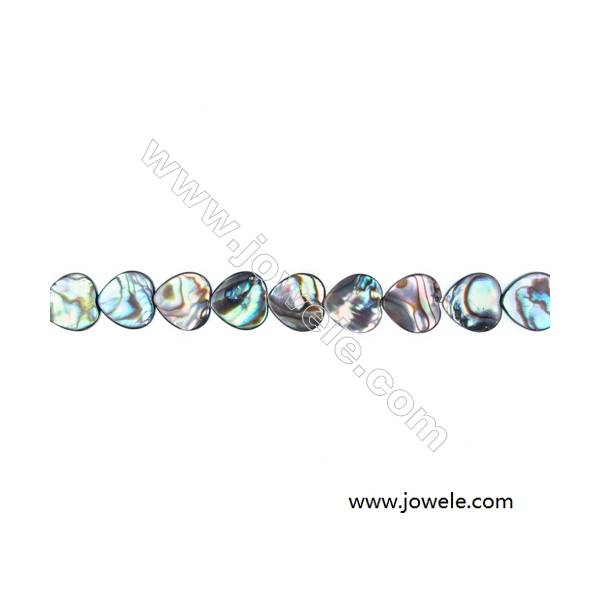 Abalone Shell Bead Strands, Heart, Size 10x10mm, Hole 0.8 mm, About 40 beads/strand, 15 ~ 16 ''