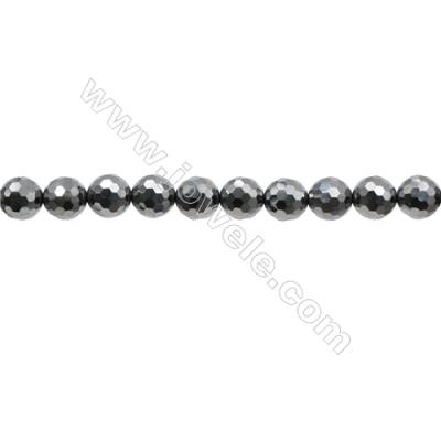 "Synthesis Terahertz Artificial Ore Beads Strands  Round(Faceted)  Diameter 8mm  Hole 0.8mm  15~16""/strand"