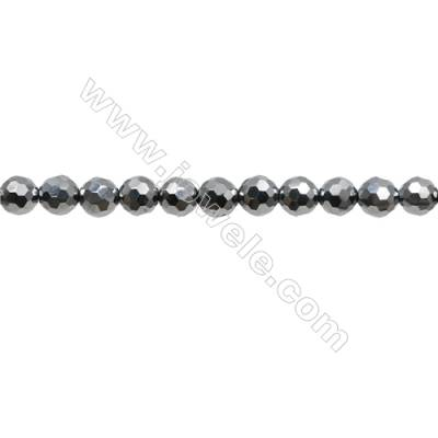 "Synthesis Terahertz Artificial Ore Beads Strands  Round(Faceted)  Diameter 6mm  Hole 0.6mm  15~16""/strand"