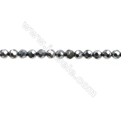 "Synthesis Terahertz Artificial Ore Beads Strands  Round(Faceted)  Diameter 4mm  Hole 0.6mm  15~16""/strand"