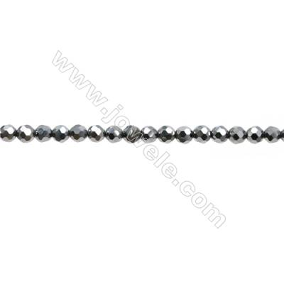 "Synthesis Terahertz Artificial Ore Beads Strands  Round(Faceted)  Diameter 3mm  Hole 0.45mm  15~16""/strand"