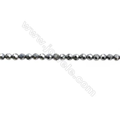 "Synthesis Terahertz Artificial Ore Beads Strands  Round(Faceted)  Diameter 2mm  Hole 0.3mm  15~16""/strand"