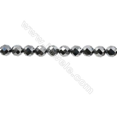 "Synthesis Terahertz Artificial Ore Beads Strands  Round(Faceted)  Diameter 8mm  Hole 0.7mm  15~16""/strand"